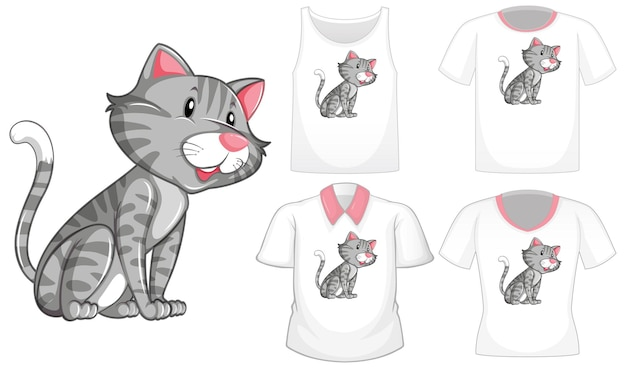 Personagem de desenho animado de gato com um conjunto de diferentes camisas isoladas