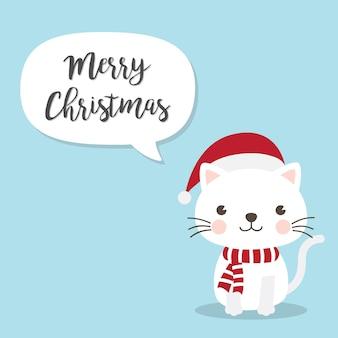 Personagem de desenho animado de gato de gatinho de natal