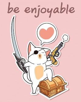 Personagem de desenho animado de gato pirata kawaii