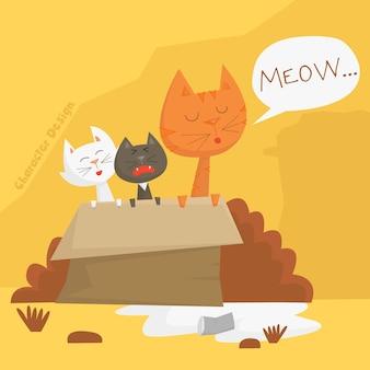 Personagem de desenho animado de gatos desabrigados