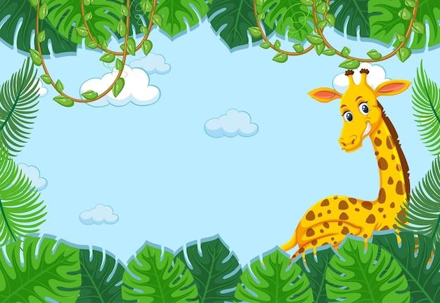 Personagem de desenho animado de girafa com moldura de folhas tropicais