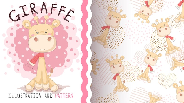 Personagem de desenho animado de girafa com padrão uniforme de scrarf
