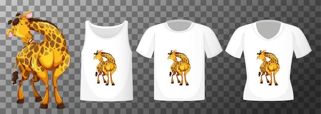 Personagem de desenho animado de girafa em pé com muitos tipos de camisas