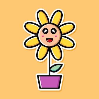 Personagem de desenho animado de girassol fofo