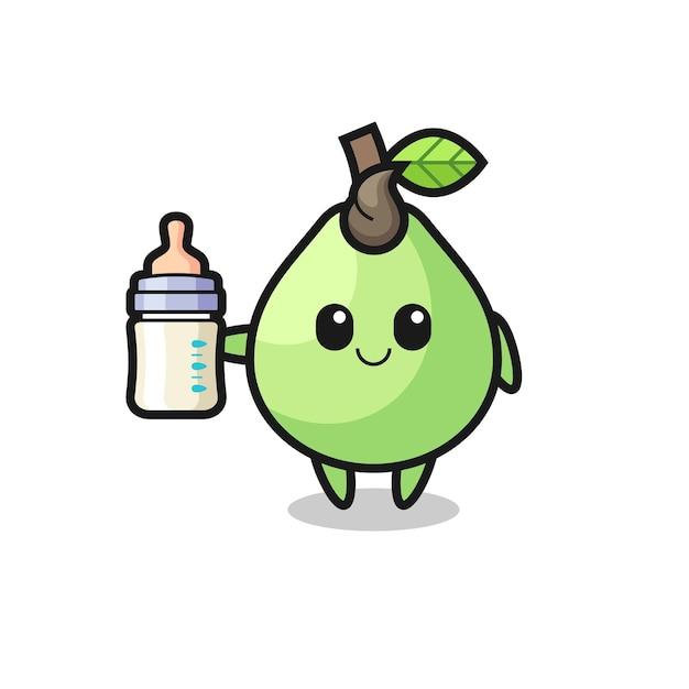 Personagem de desenho animado de goiaba com garrafa de leite, design de estilo fofo para camiseta, adesivo, elemento de logotipo