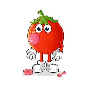 Personagem de desenho animado de goma de mascar de tomate