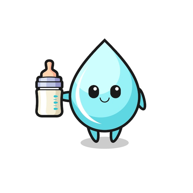 Personagem de desenho animado de gota d'água de bebê com garrafa de leite, design de estilo fofo para camiseta, adesivo, elemento de logotipo