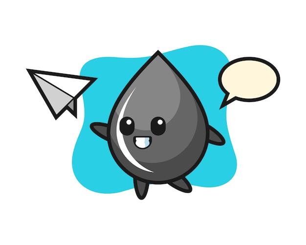Personagem de desenho animado de gota de óleo jogando avião de papel