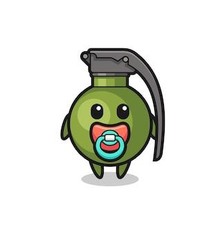 Personagem de desenho animado de granada de bebê com chupeta, design de estilo fofo para camiseta, adesivo, elemento de logotipo