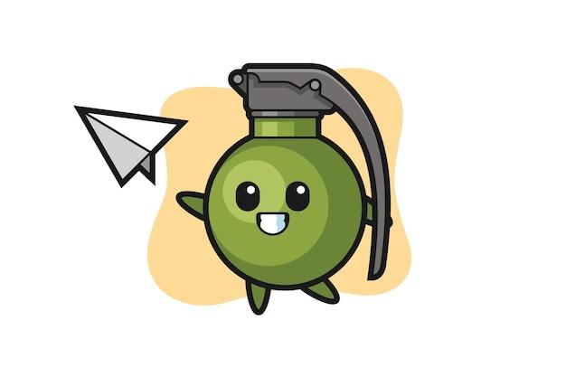 Personagem de desenho animado de granada jogando avião de papel, design de estilo fofo para camiseta, adesivo, elemento de logotipo