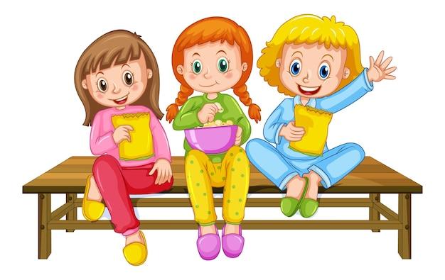 Personagem de desenho animado de grupo de crianças
