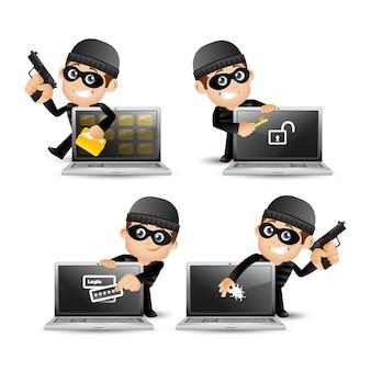 Personagem de desenho animado de hacker e ladrão