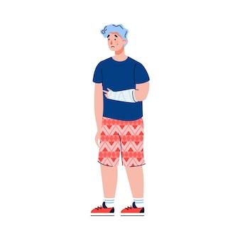 Personagem de desenho animado de homem com braço ferido em bandagem isolado no branco
