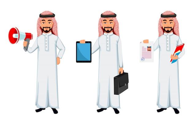 Personagem de desenho animado de homem de negócios árabes modernos