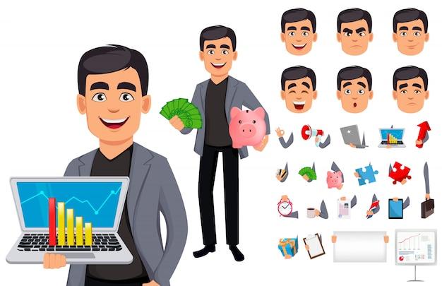 Personagem de desenho animado de homem de negócios bonito
