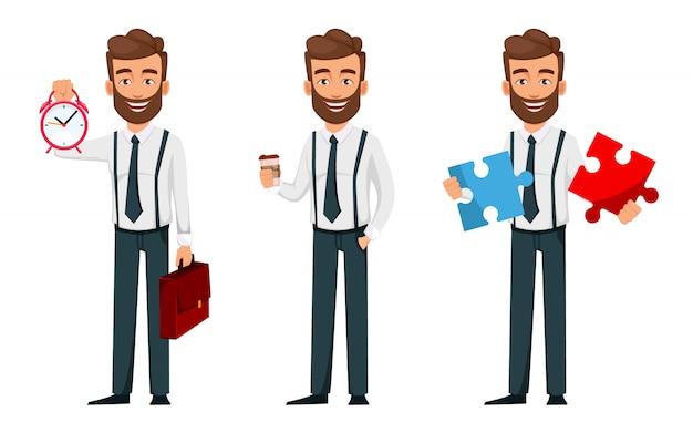 Personagem de desenho animado de homem de negócios, conjunto de três poses