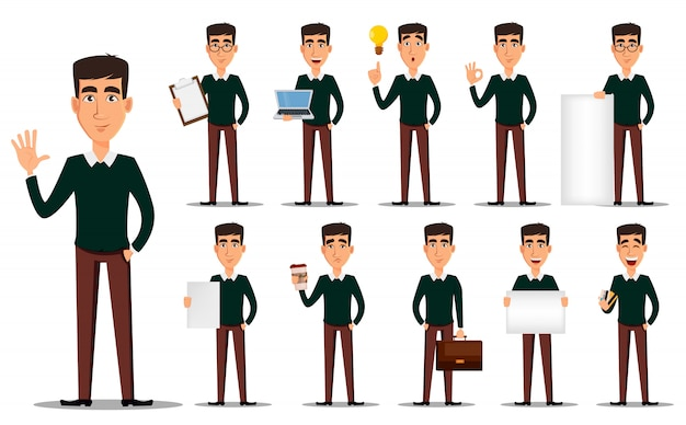 Personagem de desenho animado de homem de negócios, conjunto