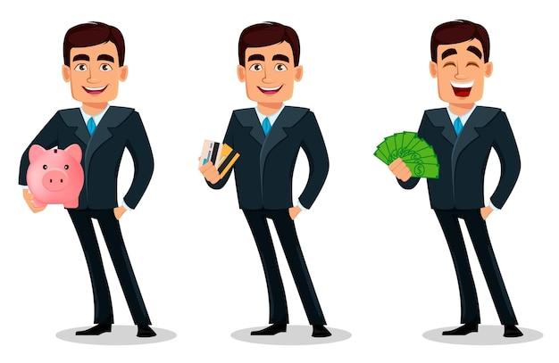Personagem de desenho animado de homem de negócios em traje formal conjunto de três poses