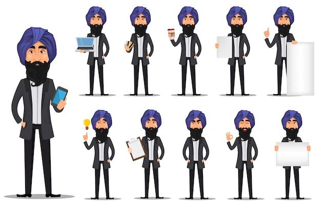Personagem de desenho animado de homem de negócios indiano