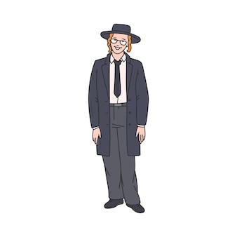 Personagem de desenho animado de homem judeu ortodoxo em ilustração vetorial de esboço de chapéu isolada
