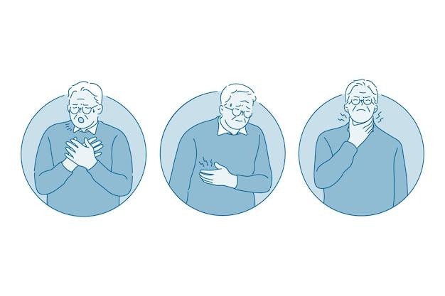 Personagem de desenho animado de homem tossindo