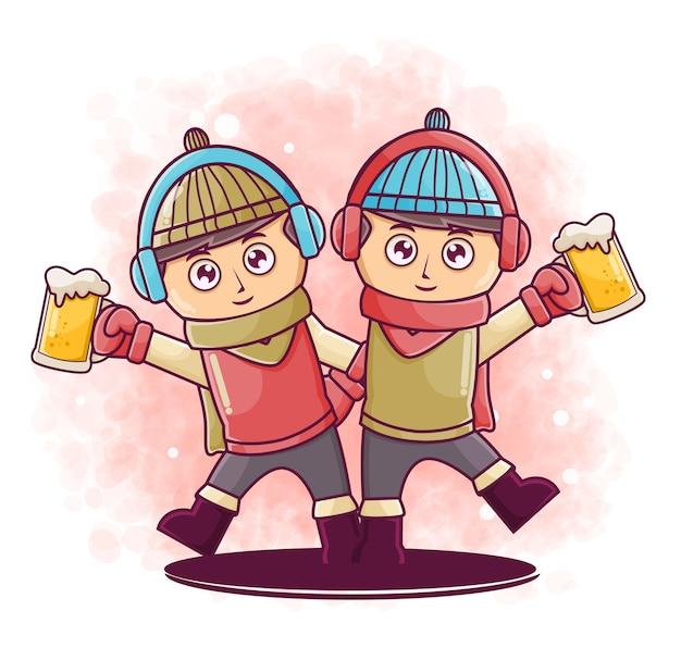 Personagem de desenho animado de homens bonitos felizes segurando uma ilustração de cerveja