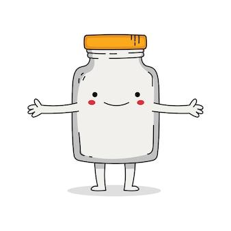 Personagem de desenho animado de jarra de vidro fofa