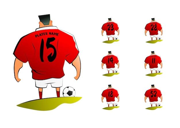 Personagem de desenho animado de jogador de futebol americano com vetor premium definido por número de volta