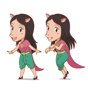 Personagem de desenho animado de keaw, a personagem da mulher com cara de cavalo nos antigos contos populares da tailândia