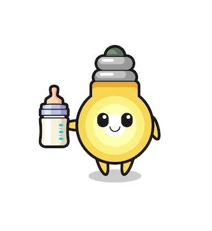 Personagem de desenho animado de lâmpada de bebê com garrafa de leite, design de estilo fofo para camiseta, adesivo, elemento de logotipo