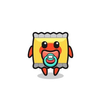 Personagem de desenho animado de lanche de bebê com garrafa de leite, design de estilo fofo para camiseta, adesivo, elemento de logotipo