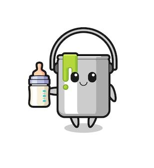 Personagem de desenho animado de lata de tinta de bebê com garrafa de leite, design de estilo fofo para camiseta, adesivo, elemento de logotipo