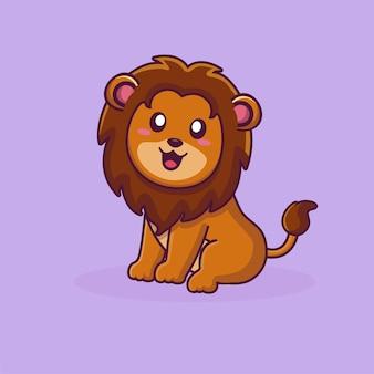 Personagem de desenho animado de leão sentado em pose de leão