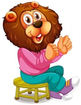 Personagem de desenho animado de leão sorridente