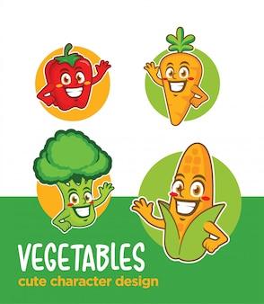 Personagem de desenho animado de legumes