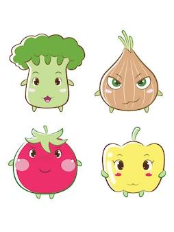 Personagem de desenho animado de legumes.