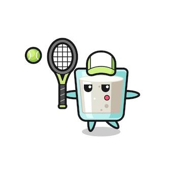 Personagem de desenho animado de leite como jogador de tênis, design de estilo fofo para camiseta, adesivo, elemento de logotipo