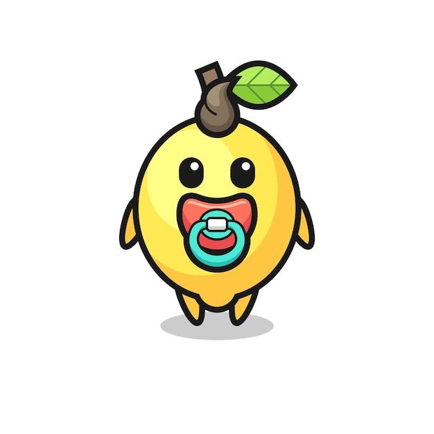 Personagem de desenho animado de limão bebê com chupeta, design de estilo fofo para camiseta, adesivo, elemento de logotipo