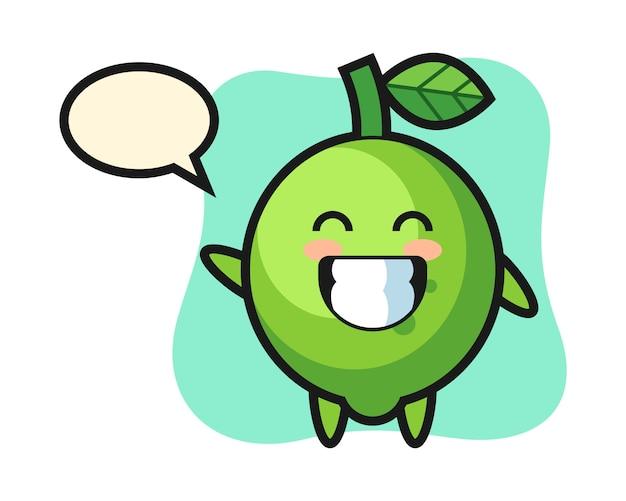 Personagem de desenho animado de limão fazendo um gesto com a mão, estilo fofo, adesivo, elemento de logotipo