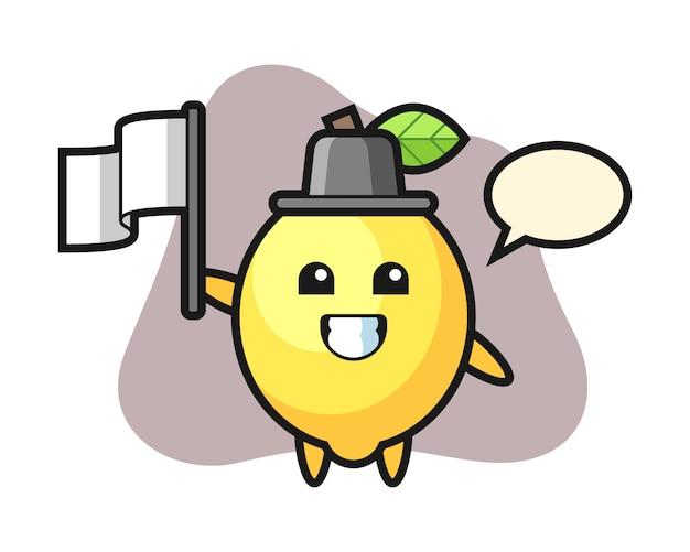Personagem de desenho animado de limão, segurando uma bandeira