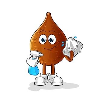 Personagem de desenho animado de limpador de palma espinhosa