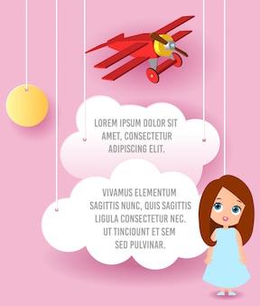 Personagem de desenho animado de linda garota. arte de papel do vetor da nuvem e do voo do plano no céu. publicidade de modelo.