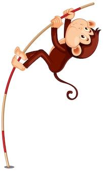 Personagem de desenho animado de macaco saltando com vara