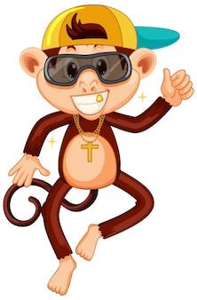 Personagem de desenho animado de macaco swag