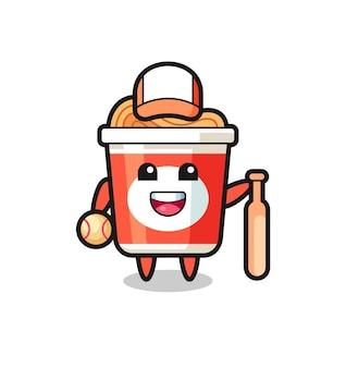Personagem de desenho animado de macarrão instantâneo como jogador de beisebol, design de estilo fofo para camiseta, adesivo, elemento de logotipo