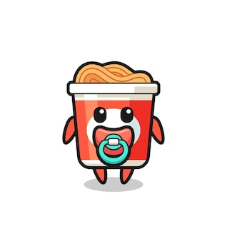 Personagem de desenho animado de macarrão instantâneo de bebê com chupeta, design de estilo fofo para camiseta, adesivo, elemento de logotipo