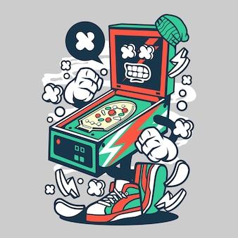 Personagem de desenho animado de máquina de pinball