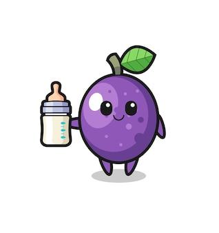 Personagem de desenho animado de maracujá bebê com garrafa de leite, design de estilo fofo para camiseta, adesivo, elemento de logotipo