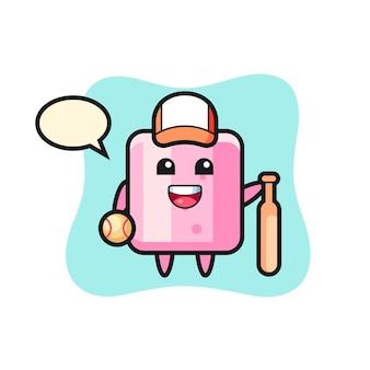 Personagem de desenho animado de marshmallow como um jogador de beisebol, design de estilo fofo para camiseta, adesivo, elemento de logotipo Vetor Premium