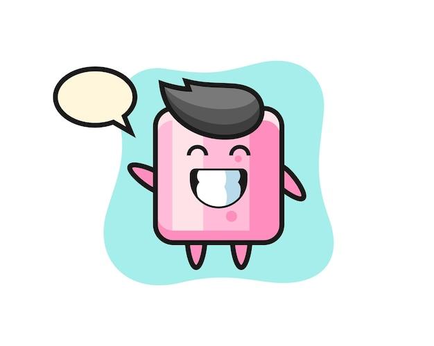 Personagem de desenho animado de marshmallow fazendo um gesto com a mão acenando, design de estilo fofo para camiseta, adesivo, elemento de logotipo